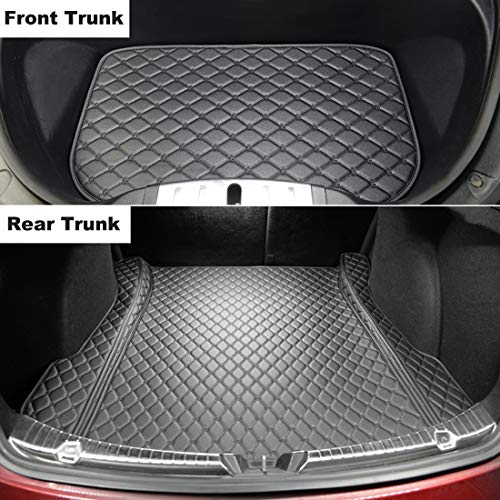 Topfit Model 3 Front and Rear Trunk Mat All-Weather Protective Mats for Tesla Model 3 2018 2019 2020 Liners Waterproof Leather Cushion (Black)