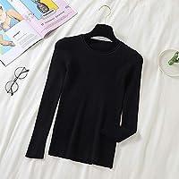 女性用セーター長袖用ニットセーターベーシックホワイトセータープラスサイズ秋の女性ニットプルオーバー-Black_S