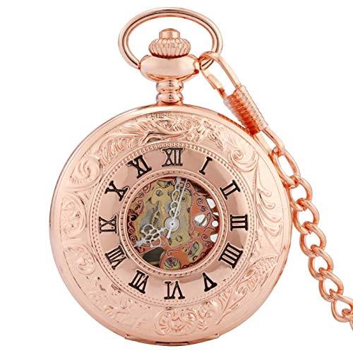 ZHAOXIANGXIANG Reloj De Bolsillo Retro,Reloj De Bolsillo Mecánico Punk Vintage Hollow Skeleton Dial Analog Skeleton Hand Winding Reloj De Bolsillo Mecánico Hombres Mujeres Regalos, Oro Rosa