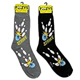 Foozys Men's Bowling Cool Sports Novelty Crew Socks | 2 Pair