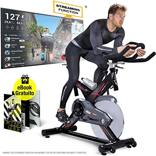 Sportstech Vélo d'Appartement ergomètre SX400 - Marque Allemande de qualité - Video Events & Multijoueur APP, Volant d'inertie 22KG, Compatible avec Les Ceintures pulsées - eBook Inclus (SX400)