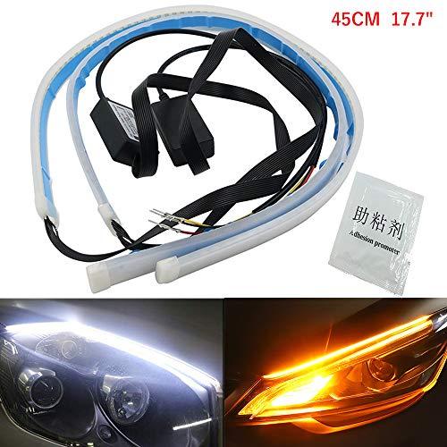 Fulintech Lot de 2 bandes LED de 60 cm bicolore Blanc//jaune s/équence Feux de circulation diurne pour voiture Feux de circulation diurne DRL Lampe d/écorative et clignotants