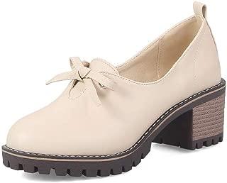 BalaMasa Womens APL12346 Leather Block Heels