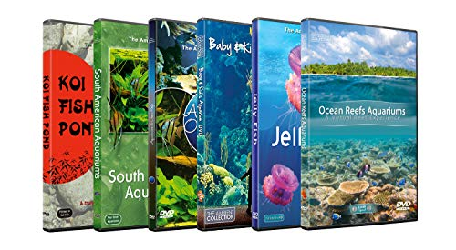 6 Disc Set DVD Combo Pack - Freshwater, Marine, Ocean Reef Aquariums - Aquarium HD Videos with Nature Sounds and Relaxing Music