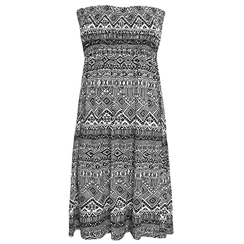 FASHION BOUTIQUE Damen Kleid Bedruckt Bandeau-Top Kleid Größe EU 36-46 - Azteken Kleines Muster, L/XL (EU 44/46)