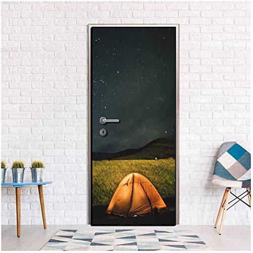 Kenmerkend ontwerp Mountain Outdoor Tent 3D Deur Sticker Creatieve Verwijderbare Vinyl PVC Home Decoratie Woonkamer Slaapkamer Behang 77x200cm