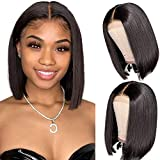 Human Hair Bob Wigs Glueless Short Straight Bob Cut 4x4 Lace Front Wigs for Black Women Glueless Brazilian Virgin Hair Pre Plucked with Baby Hair Bob Wigs Bleached Knots 14 Inch