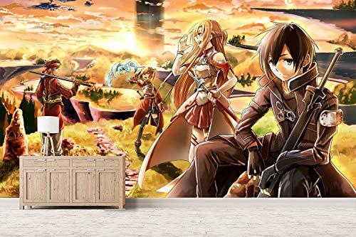 Sword Art Online Fototapete 3D Anime Effekt Wohnzimmer Vlies Tapete Kinderzimmer Jungen Mädchen Schlafzimmer Moderne Wanddeko Wandbilder Mural Wallpaper 250x175cm