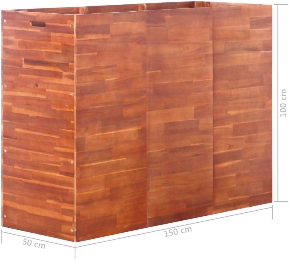 vidaXL Acacia Arriate Madera Rectangular Jard/ín Patio Terraza 100x50x50 cm