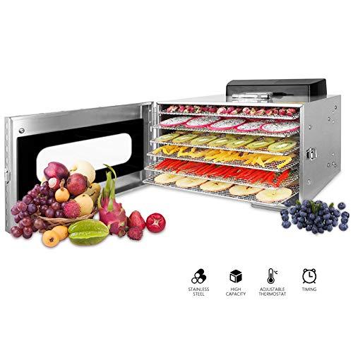 Novhome Deshidratador de Alimentos Acero Inoxidable 6 bandejas Deshidratador Frutas y Verduras Temperatura 30-90℃ Temporizador de 24 Horas Libre de BPA para Carne Hierbas
