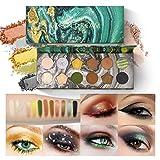 OLesley 12 colores Maquillaje De Paleta De Sombras De Ojos Paleta de sombras de ojos verdes Paleta de colores cosméticos a prueba de agua Sombra de ojos mate profesional con brillo (green)
