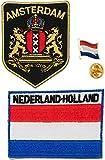 A-ONE Paquete de 3 piezas - Parche de la ciudad de Ámsterdam de los Países Bajos + Parche termoadhesivo + Pin de solapa de metal de la bandera de Holanda, insignia bordada de Amsterdam City