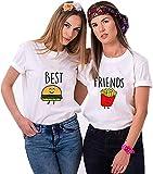 Best Friends Damen T-Shirt BFF Beste Freunde Burger und Pommes (Weiß,Pommes XS)