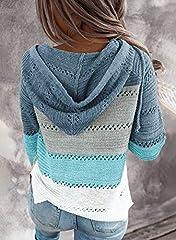 GOSOPIN Womens Casual Soft Cozy Pullover Tops Color Block Long Sleeve Tunic Sweatshirt Tops Drawstring Hoodie Blue Plus Size UK 18 #1