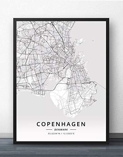 QYQMYK Leinwand Bilder,Dänemark Kopenhagen Stadt Karte Wand Bilder Drucke Poster Schwarz Weiß Gemälde Kunst Rechteck Wandbilder Pop Kunstwerk Für Zimmer Leben Wohnkultur, 50X70Cm/19.68X27.55 In