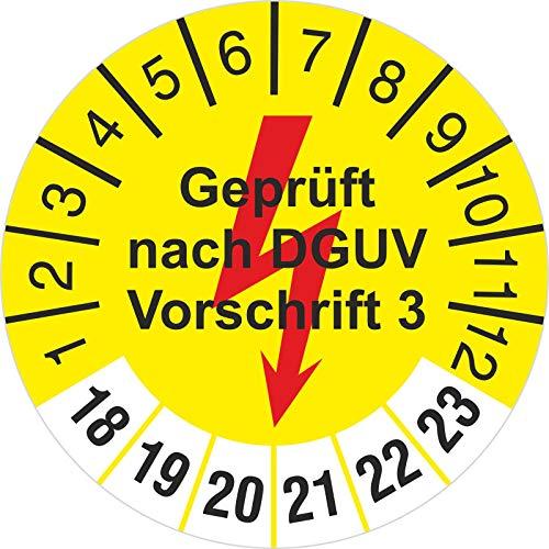 100 Stück 30 mm gelb geprüft nach DGUV Vorschrift 3 mit Blitz Prüfetiketten Prüfplakette 2018-23