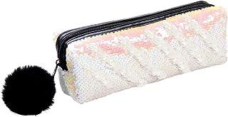 CHIRORO Meerjungfrau Pailletten Kosmetiktasche, DIY Reversible Glitter Make-up Handtasche Mäppchen Geldbörse Funkelnde glänzende Abend Party Taschen mit Plüsch Pom Pom für Frauen Mädchen,Weiß