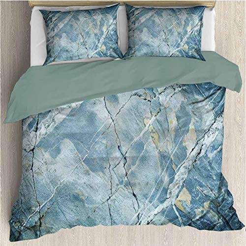 Waynekeysl Marble Duvet Cover Set, Exquisite Granite Stone Architecture Floor Artistic Nature Faded Rock Picture, Decorative 3 Piece Bedding Set with 2 Pillow Shams, Full Size, Light Blue Grey