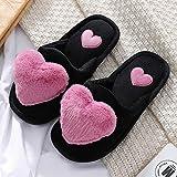 ZapatillascasaZapatillas Cálidas Y Suaves para Mujer, Zapatillas De Algodón con Corazón De...