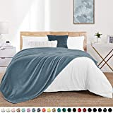 """Walensee Fleece Blanket Plush Throw Fuzzy Lightweight (Queen Size 90""""x90"""" Washed Blue) Super Soft Microfiber Flannel Blankets for Couch, Bed, Sofa Ultra Luxurious Warm and Cozy for All Seasons"""