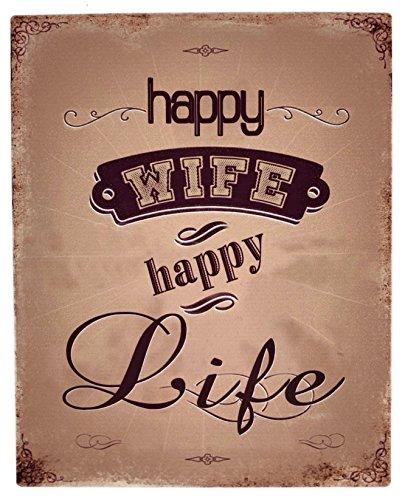 Crispe home & garden Blechschild Happy Wife - Happy Life 20 x 25 cm Nostalgie Metallschild
