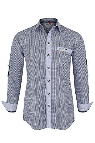 Spieth & Wensky Herren Trachtenhemd Slim Fit blau kariert, Blau, L