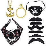 Haichen Accesorios de Disfraces de Piratas de Halloween Cráneo de Pirata Pañuelo en la Cabeza Parche de Ojo de Pirata Collar de Pendientes de Oro con Bigote Falso Juego de rol de Pirata