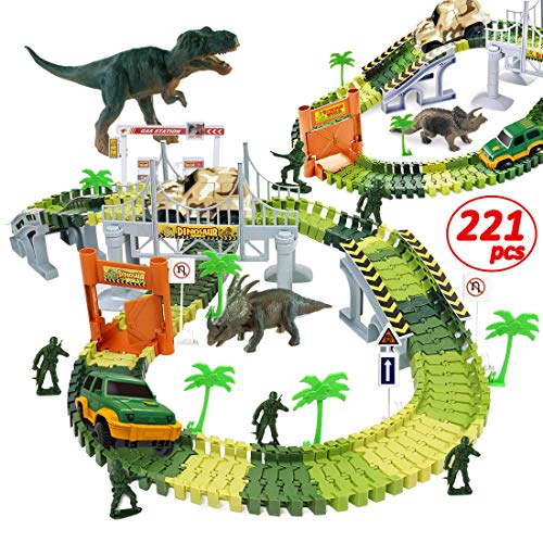 WTOR Dinosaur Toys-221Pcs Dinosaur Race Track Train Cars Create A Dinosaur World Road Race Flexible Track Toys for 3 4 5 6 7 Year Old Boys Girls Best Gift