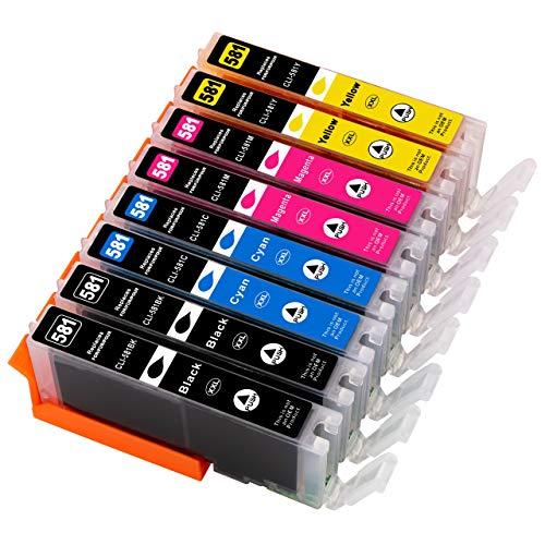 ESMOnline - 8 Cartuchos de Impresora XXL compatibles (4 Colores, Incluye Negro fotográfico) como Repuesto para Canon CLI-581