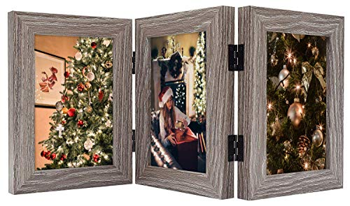 Golden State Art, Decorative Hinged Table Desk Top Picture Photo Frame, 3 Vertical Openings, 4x6 inches with Real Glass (4x6 Triple, Grey)