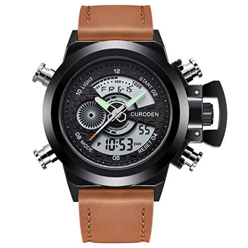 UINGKID Herren Uhr analog Quarz Armbanduhr wasserdicht Uhren Leder Sport Quarz LED Digitaluhr