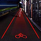 Lfnny Bike Tail Light Super Bright 2 Laser + 5 LED 4 Bicycle Tail Light Projection Parallel Tail Light Mountain Bike Riding Safety Warning Light for Mountain Bike Cycling Water Resistant Rear Lights