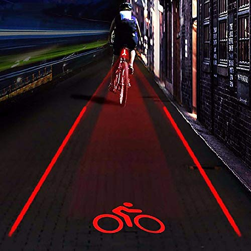 Bike Tail Light Super Bright 2 Laser + 5 LED 4 Bicycle Tail Light Projection Parallel Tail Light Mountain Bike Riding Safety Warning Light for Mountain Bike Cycling Water Resistant Rear Lights