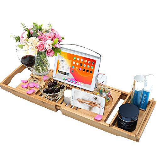 Bamboo Bathtub Caddy Tray Wooden Bath Tray with Extending Arms, Reading Rack, Tablet Holder, Cellphone Tray and Wine Glass Holder
