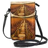 XCNGG Bolso bandolera pequeño Field Agriculture MarshlandPhonepurse para mujer Bolsos Cuero Multicolor Bolsos para teléfonos inteligentes Monedero con correa extraíble