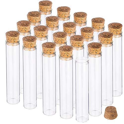BENECREAT 25 Pack 25ml Botella de Vidrio Transparente con Corcho para Manuaildad de Artesanía Decoración de Boda y Fiesta 11x2cm
