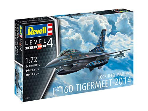 Revell 03844 Lockheed Martin F-16D Tigermeet 2014, Flugzeugmodell 1:72, 21,3 cm originalgetreuer Modellbausatz für Fortgeschrittene, unlackiert