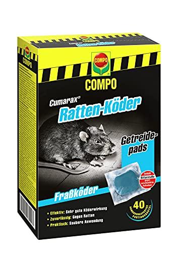 Compo Cumarax Ratten-Köder, Getreidepads, Fraßköder für Köderboxen, 40 Beutel (400 g)