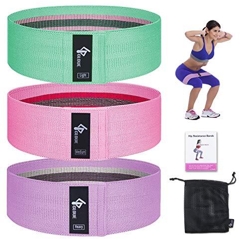 GLOUE Übungs-Widerstandsbänder für Frauen, Upgrade dicke, rutschfeste und rollbare Workout-Bänder, Mini-Hüftkreis-Schleifer, Fitness-Oberschenkel-Gesäß-Bänder-Set (3 Stück)