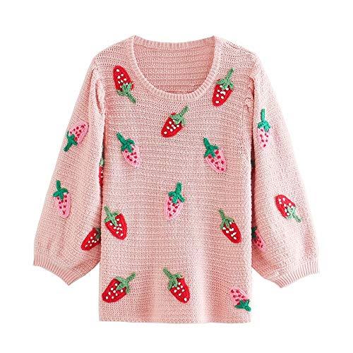 LLZY Dulces Mujeres Rosa Suéter Moda Damas Elegante Strailberry Bordado Suéter Femenino Chic Flojo O-Cuello Tops (Color : Rosado, Talla : Medium)