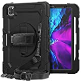 iPad Pro 12.9 Case 2020 4th Generation | SIBEITU iPad Pro 12.9 Case with Pencil Holder Screen Protector | Hard Rugged Shockproof Protective Cover w/ Stand Handle for 12.9 Inch iPad Pro Case | Black