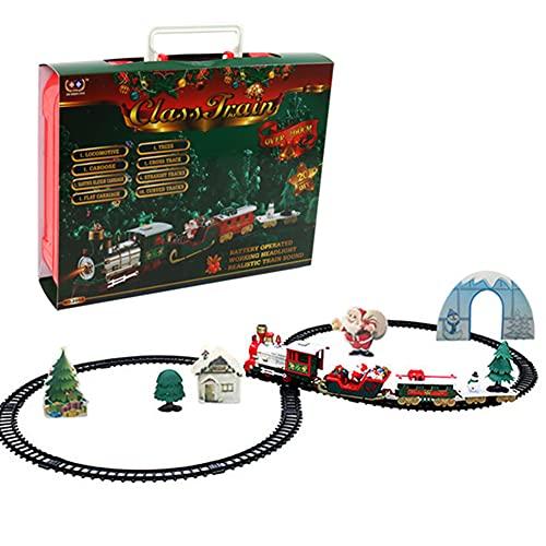 LSGGTIM Conjunto de tren de Navidad, juego de tren eléctrico seguro de tren,Mini pista de Navidad tren de juguete carril coche tren tren ferroviario niños coche regalo mini