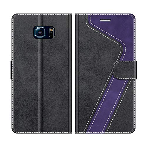 MOBESV Handyhülle für Samsung Galaxy S6 Edge Hülle Leder, Samsung Galaxy S6 Edge Klapphülle Handytasche Case für Samsung Galaxy S6 Edge Handy Hüllen, Schwarz/Violett