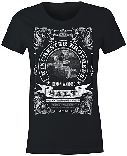 6TN Ladies Winchester Brothers Demon Warding Salt T Shirt(Black Large)