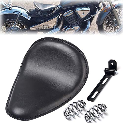 Triclicks Sillín para Moto Negro Incluye Soporte y Muelles, Para Chopper/Bobber/Sportster Piel Sintética