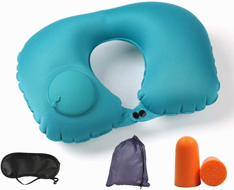 Neck Pillow Travel Inflatable Sacramento Mall Portable Compact 67% OFF of fixed price Supp
