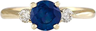 1.4 Carat Natural Blue Sapphire and Diamond (F-G Color, VS1-VS2 Clarity) 14K Yellow Gold 3 Stone Engagement Ring for Women...