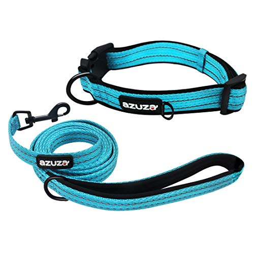 azuza Durable Padded Dog Leash and Collar Set,Reflective Strip Extra Safe and...