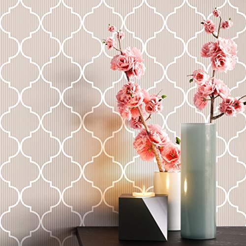 NEWROOM Tapete beige Marrokanisch feine Streifen Landhaus Vliestapete creme Vlies moderne Design Optik Grafisch inkl. Tapezier Ratgeber