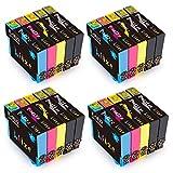 HITZE 16 XL Cartuchos de Tinta Compatible para Epson 16 16XL para Epson Workforce WF-2630WF WF-2010 WF-2750 WF-2530 WF-2760 WF-2650 WF-2660 WF-2510 WF-2520 WF-2660 WF-2540 (20 Multipack)